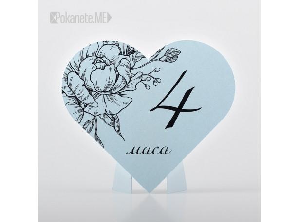 Номера за сватбени маси HEARTS Aquamarine