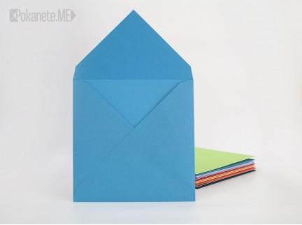 Цветен квадратен плик - син